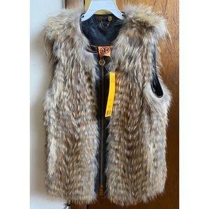 Tory Burch Isadora Vest XS Cayote Fur